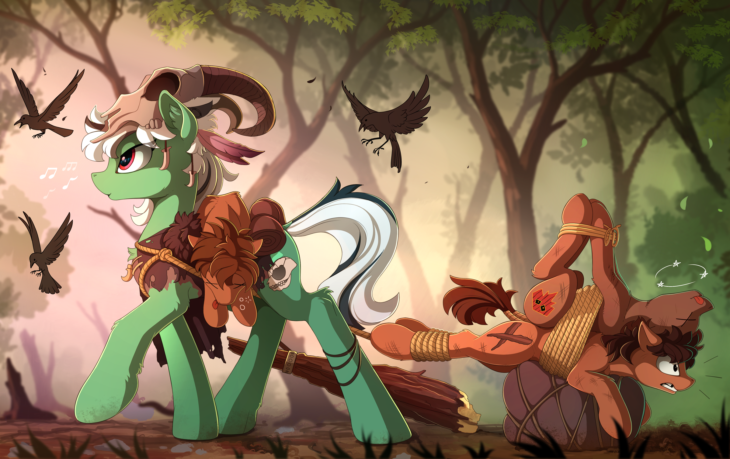 e926 avian bird brown_hair cutie_mark fan_character feral flying fur green_fur group hair hi_res hooves my_little_pony red_eyes rope standing white_hair yakovlev-vad