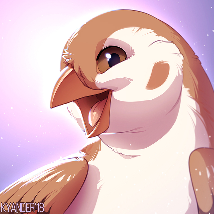 e926 2018 ambiguous_gender avian beak bird brown_eyes brown_feathers cute feathers feral kyander open_mouth simple_background smile sparrow tongue