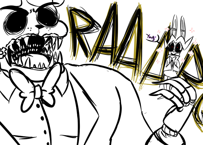 e926 2015 animatronic anthro bear bonnie_(fnaf) bow_tie dialogue duo english_text five_nights_at_freddy's golden_freddy_(fnaf) inkyfrog lagomorph machine male mammal open_mouth rabbit restricted_palette roaring robot sharp_teeth simple_background sparkle teeth text video_games white_background