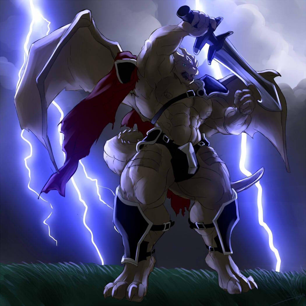 Armored Anthro Dragon - drawception.com