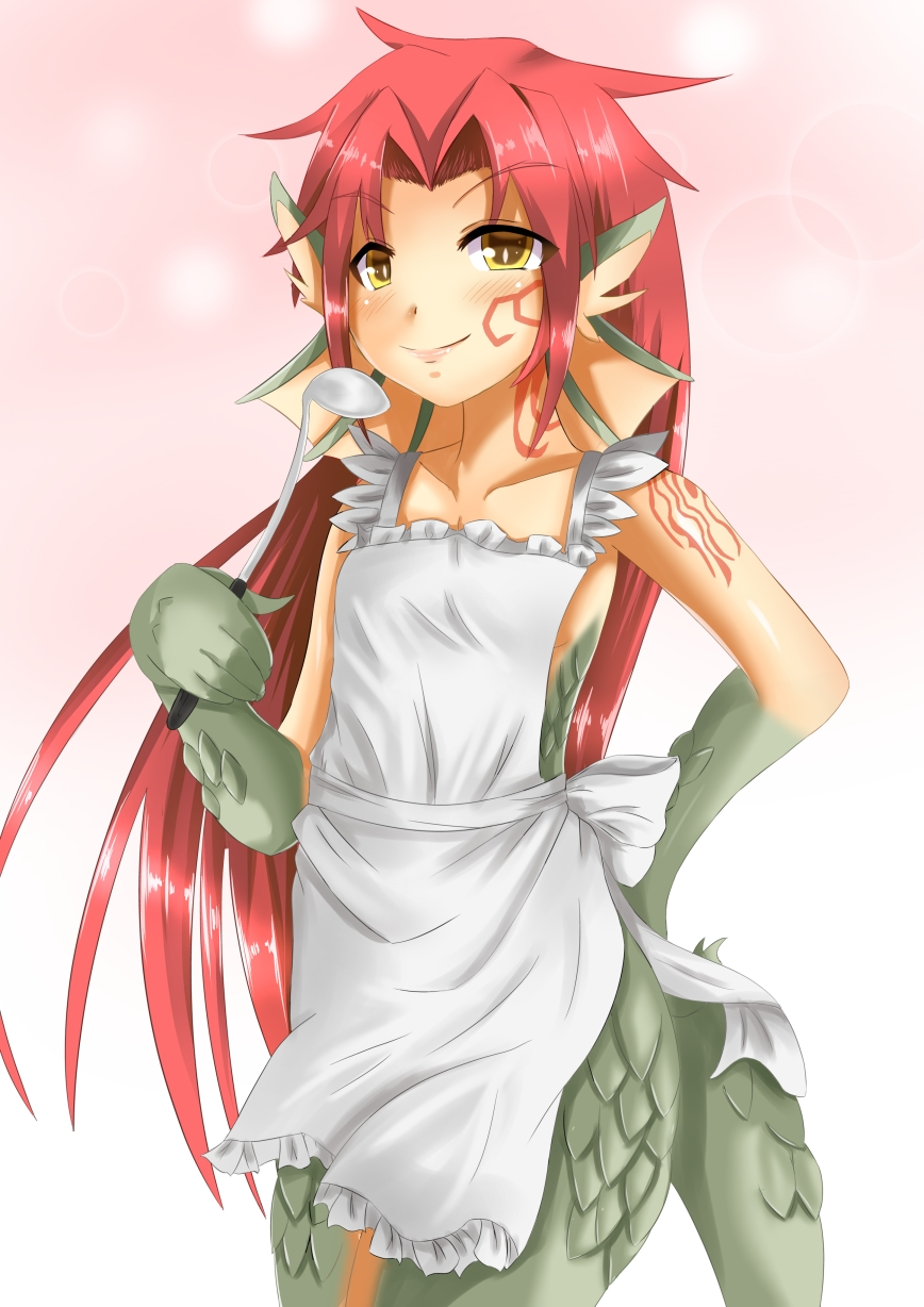 e926 2015 animal_humanoid apron blush clothing dragon dragon_humanoid female granberia green_scales hair hi_res humanoid looking_at_viewer monster_girl monster_girl_(genre) monster_girl_quest naked_apron red_hair scales simple_background solo standing tau_1111 video_games yellow_eyes