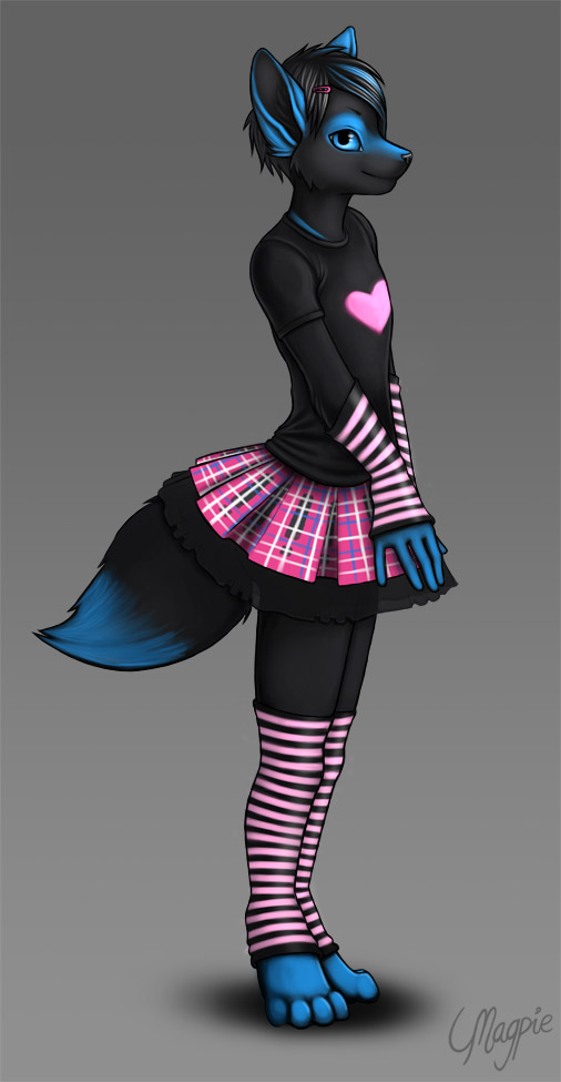 e926 2011 <3 ambiguous_gender anthro arm_warmers armwear black_fur blue_eyes blue_markings canine clothed clothing cute food fox fur girly hairclip kidsune legwear magpie_(artist) mammal markings pattern_clothing pie pink_clothing plaid side_view skirt socks solo striped_armwear striped_clothing striped_legwear stripes tartan_clothing thigh_socks toeless_socks
