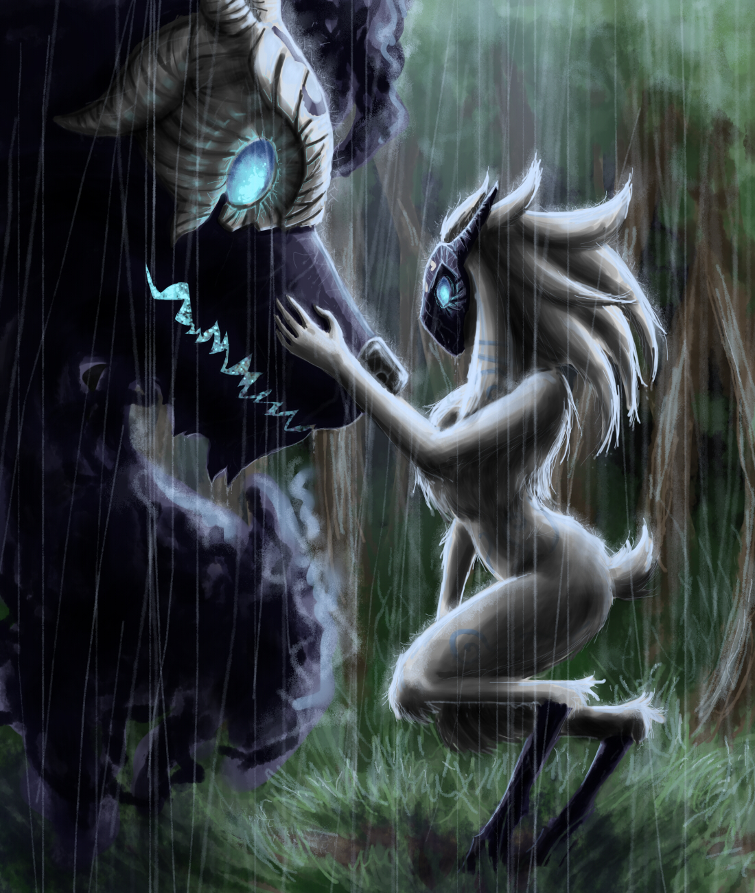 e926 5_fingers ambiguous_gender anthro canine caprine detailed_background forest fur glowing glowing_eyes grass hair kindred_(lol) lamb_(lol) league_of_legends long_hair mammal markings mask open_mouth outside raining riot_games tree tuft video_games white_fur white_hair wolf wolf_(lol) zeroakumareal