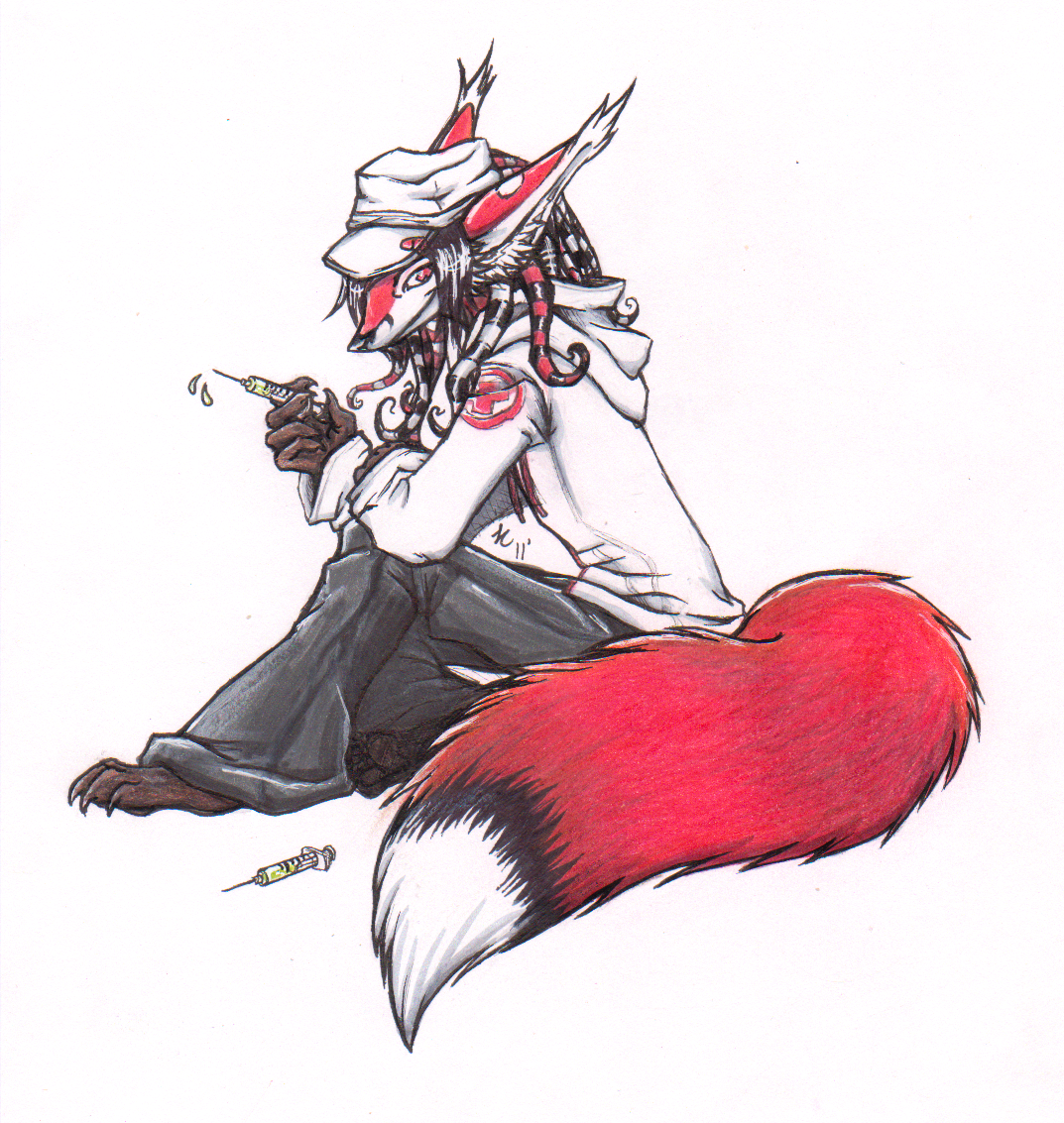 e926 + anthro arm_on_leg barefoot bent_legs big_tail biped black_claws black_hair black_markings black_tail brown_skin canine claws clothed clothing colored_pencil_(artwork) dipstick_tail dreadlocks ear_tuft fluffy fluffy_tail fox full-length_portrait fur grey_pants hair hat highlights holding_object hoodie inner_ear_fluff lapfox_trax long_hair looking_at_viewer male mammal marker_(artwork) markings mixed_media multicolored_tail nurse pen_(artwork) portrait red_ears red_eyes red_fur red_tail renard_queenston shirt_logo shukketsu-kokoro side_view simple_background sitting smile snout solo striped_fur striped_tentacles stripes syringe tentacle_hair tentacles traditional_media_(artwork) tuft white_background white_highlights white_markings white_shirt white_tail