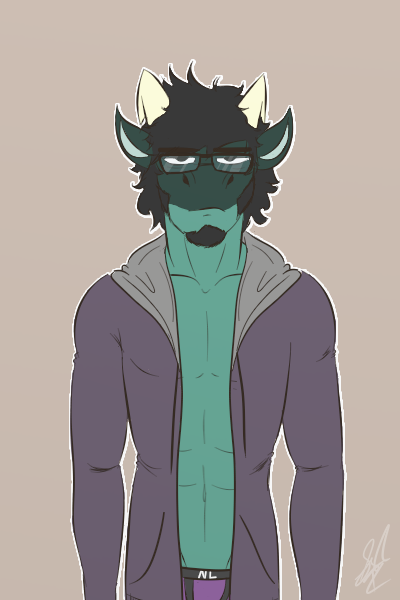 e926 2017 abs anthro bottomless clothed clothing colored digital_drawing_(artwork) digital_media_(artwork) exhausted eyewear glasses hair hi_res hoodie jacket looking_at_viewer male muscular muscular_male nerd open_jacket pecs reptile scalie simple_background solo standing tiberius tiberius_creations tired underwear