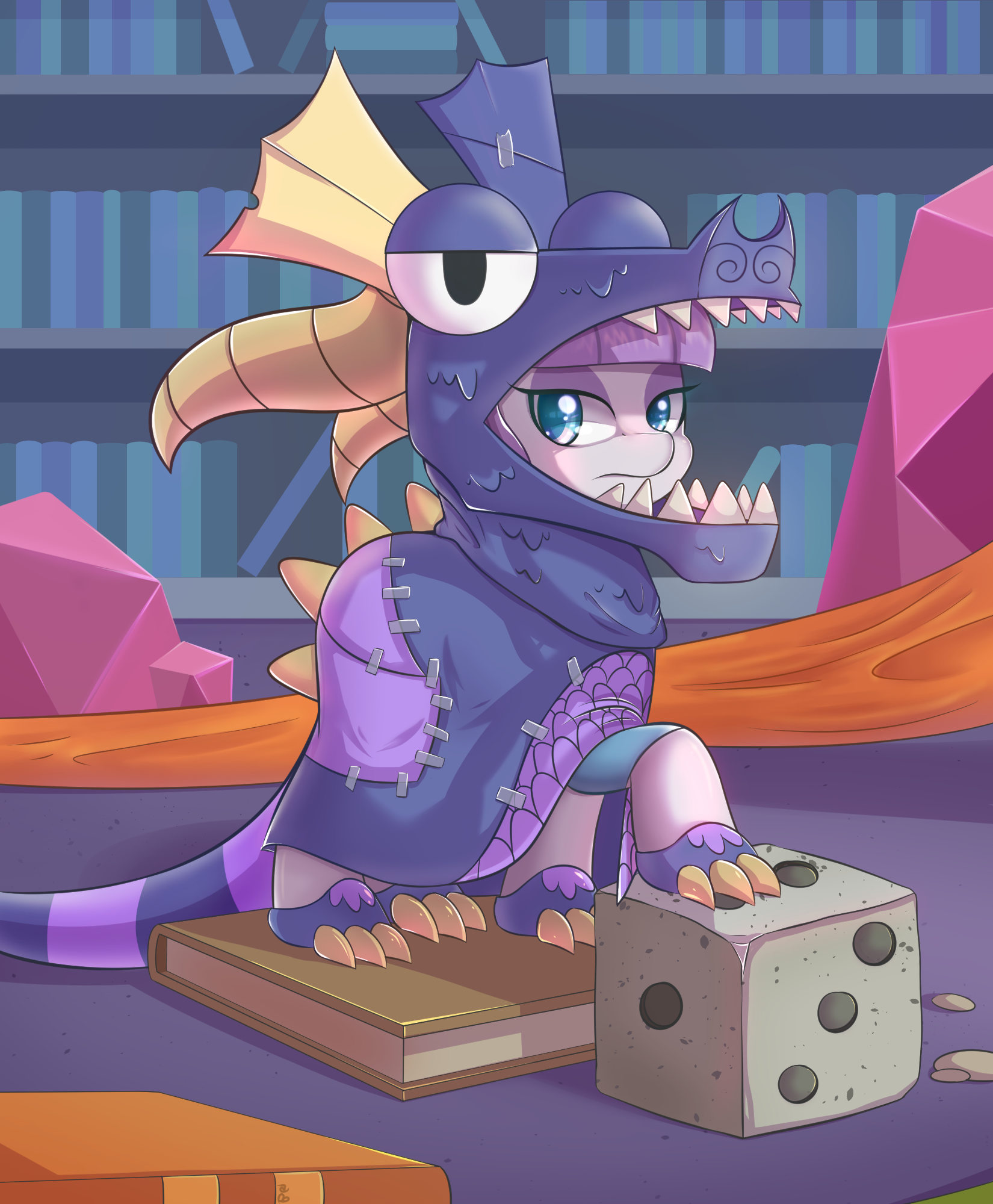 e926 2017 book costume dice dragon_costume earth_pony equine female friendship_is_magic hair hi_res horse inside library mammal maud_pie_(mlp) my_little_pony pony purple_hair solo solo_focus stone teal_eyes tikrs007_(bgstudio)