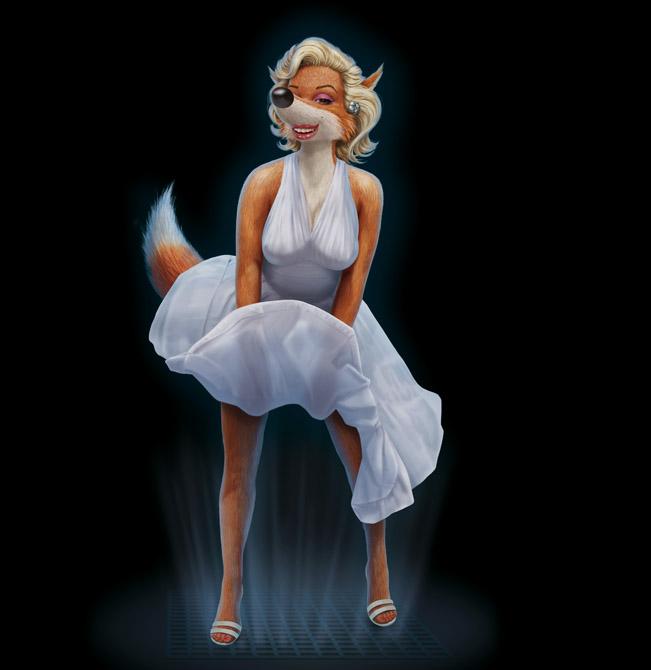 e926 anthro breasts canine clothing dress female fox fur füchschen hair klimiont mammal marilyn_monroe solo