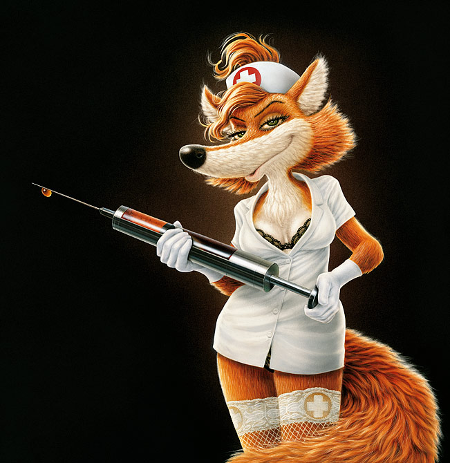 e926 anthro breasts canine female fox fur füchschen hair klimiont mammal nurse solo syringe