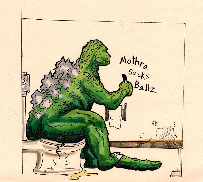e926 3_toes ambiguous_gender claws cracked crush english_text godzilla godzilla_(series) graffiti green_skin humor kaiju marker marker_(artwork) mixed_media pen_(artwork) sitting solo spines text toe_claws toes toilet toilet_paper traditional_media_(artwork) unknown_artist water