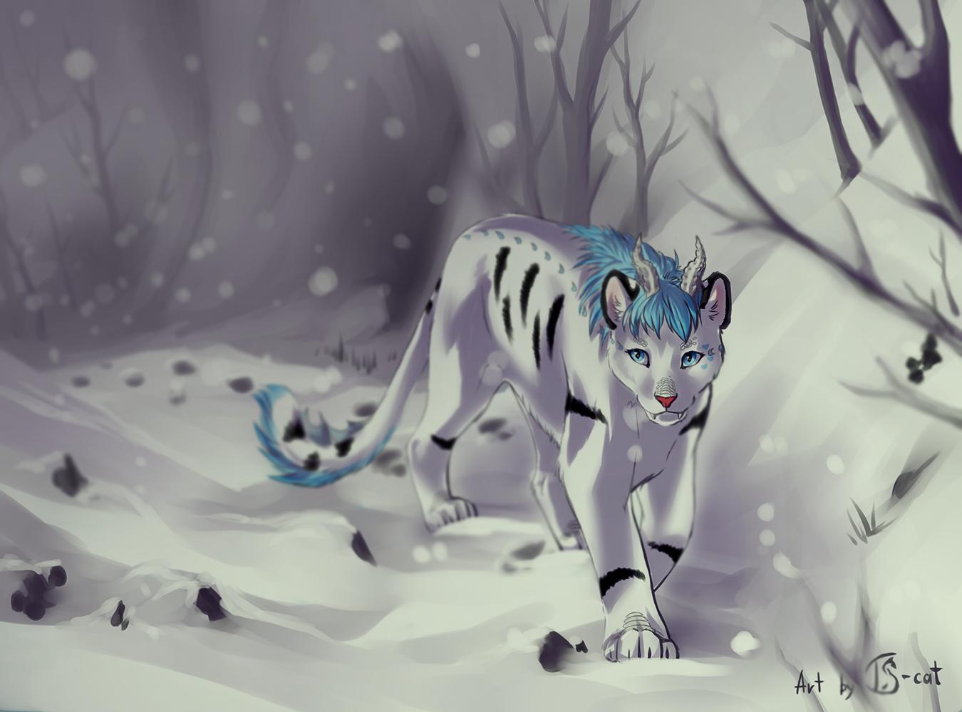 e926 ambiguous_gender blue_eyes blue_hair cat day detailed_background digital_media_(artwork) feline feral hair horn mammal outside paws snow solo ts-cat