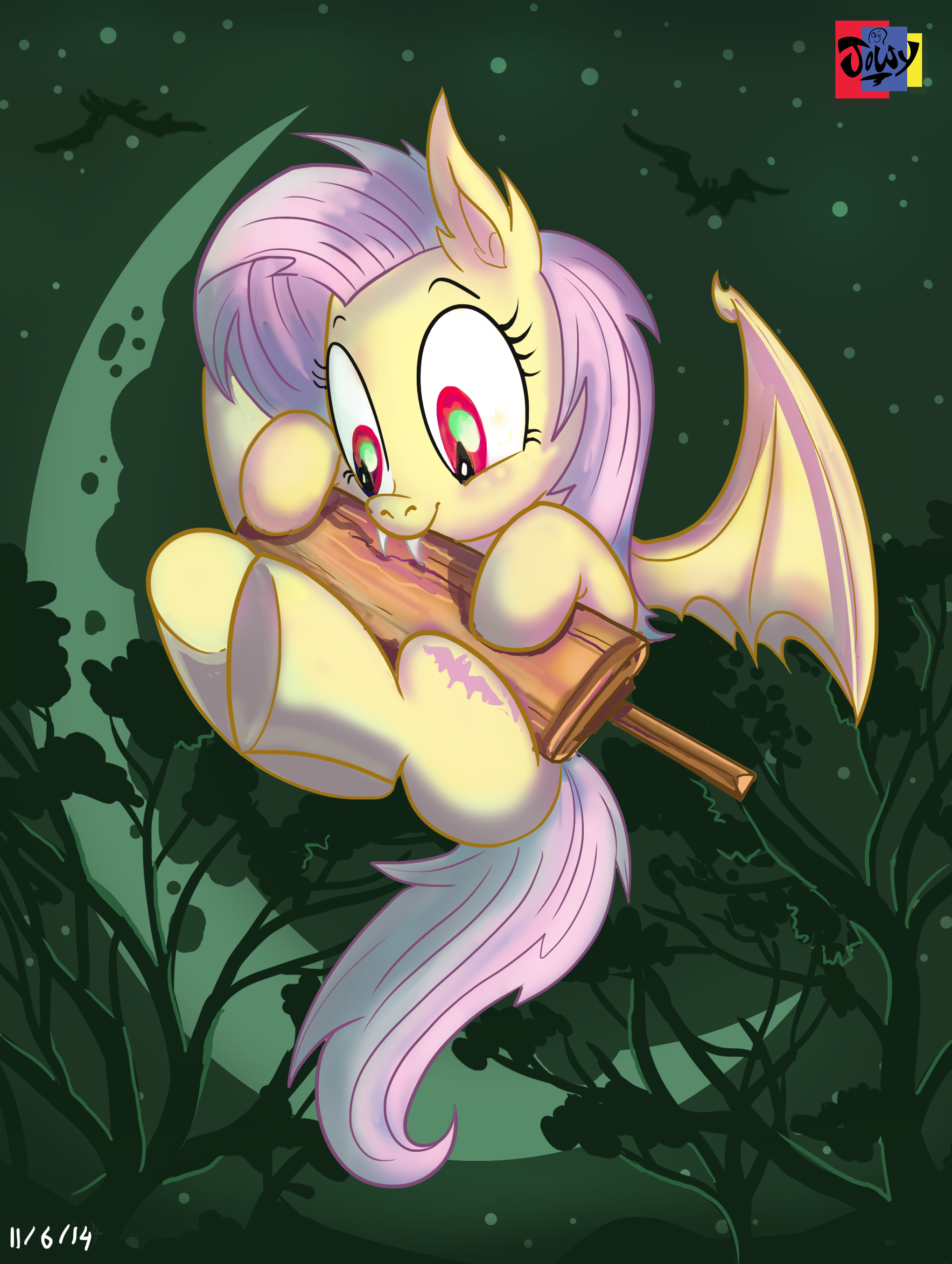 e926 2014 absurd_res bat_pony bat_wings bite cricket_bat cutie_mark equine fangs female flutterbat_(mlp) fluttershy_(mlp) flying friendship_is_magic hair hi_res hybrid jowybean mammal membranous_wings moon my_little_pony night outside pink_hair red_eyes small_wings solo tree wings
