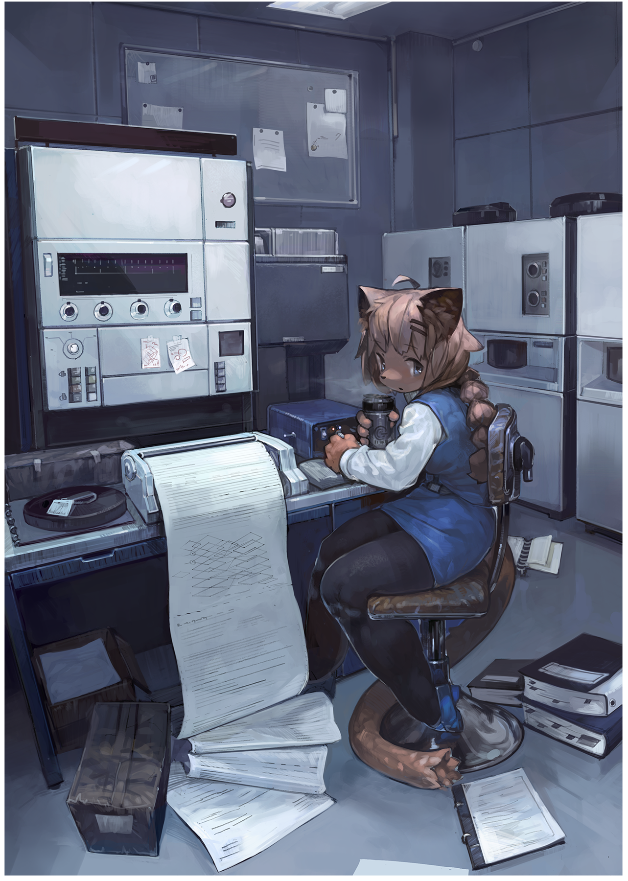 e926 anthro chair clothed clothing detailed_background feline female fully_clothed halsione hi_res holding_object inside looking_at_viewer mammal printer restricted_palette sitting solo