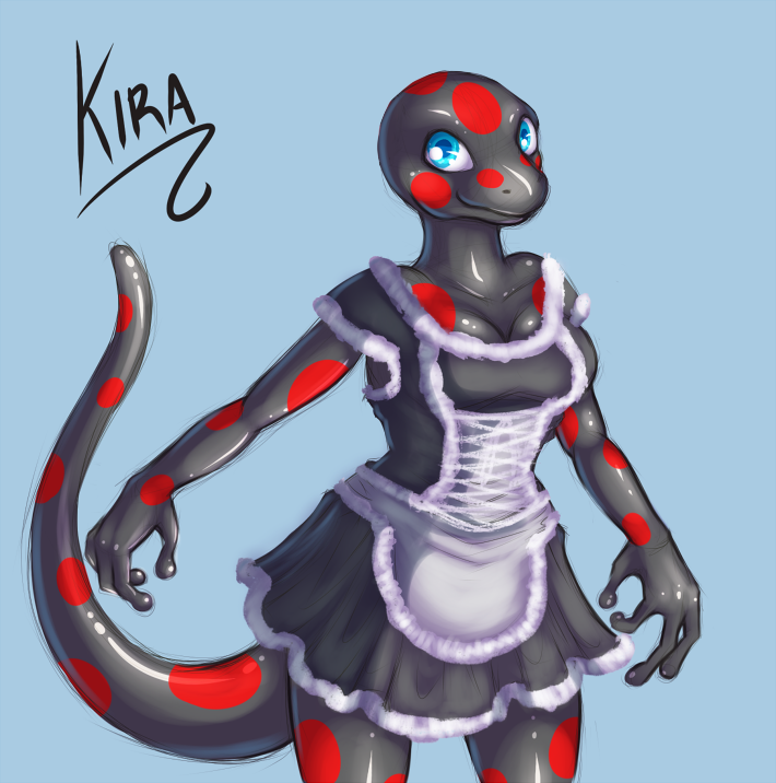 e926 2014 amphibian anthro bald black_body black_skin blue_background blue_eyes breasts clothed clothing dress female fire_belly_newt fully_clothed japanese_fire_belly_newt kira_(kira) maid_uniform mail-order-superhero newt red_spots simple_background smile solo spots uniform
