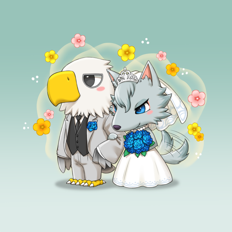 e926 animal_crossing anthro apollo_(animal_crossing) arctic_wolf avian bald_eagle beak bird blue_eyes blue_rose blush bouquet bridal_veil bride canine clothed clothing crown digital_drawing_(artwork) digital_media_(artwork) dress duo eagle eyelashes feathers female flower full-length_portrait fur grey_fur groom jewelry kemono kemonomichi male mammal motion_lines mouth_closed necklace necktie nintendo pants plant portrait purple_nose rose semi-anthro shadow smile tailwag talons tiara tuxedo veil video_games wedding wedding_dress white_dress white_feathers whitney_(animal_crossing) wings wolf yellow_beak