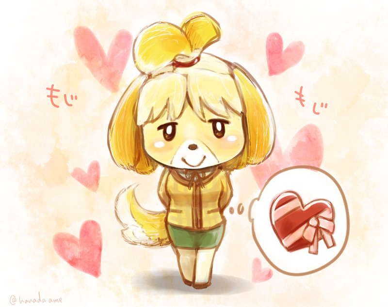 e926 <3 animal_crossing black_eyes blonde_hair blush canine clothing dog female full_body hair hanadaame hands_behind_back holidays isabelle_(animal_crossing) jacket looking_at_viewer mammal nintendo short_hair simple_background skirt smile solo standing text thought_bubble valentine's_day video_games
