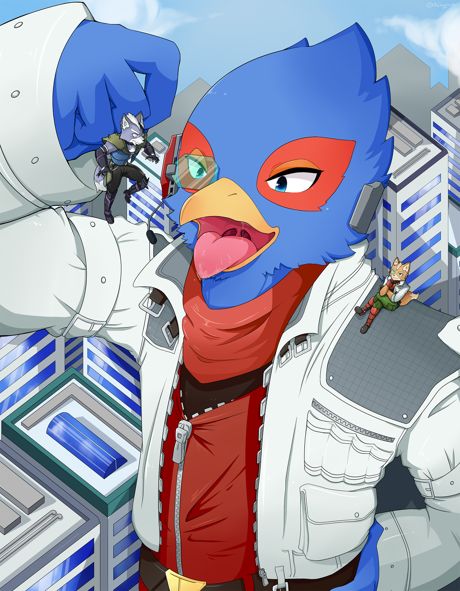 e926 anthro avian bird building canine clothed clothing falco_lombardi fox fox_mccloud grabbing group hi_res macro male mammal nintendo ohjing1004 oral_vore saliva soft_vore star_fox tongue tongue_out video_games vore wolf wolf_o'donnell