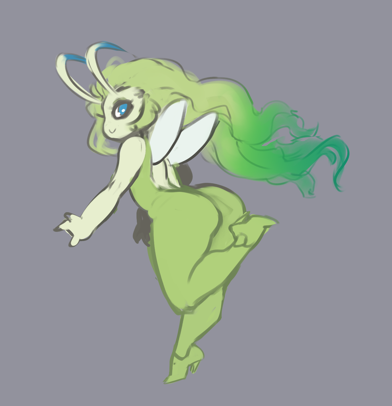 e926 ambiguous_gender blue_eyes butt butt_pose celebi clothed clothing female footwear girly green_hair grey_background hair hi_res high_heels humanoid legendary_pokémon liveforthefunk long_hair looking_back nintendo pokémon pokémon_(species) shoes simple_background smile solo video_games wings