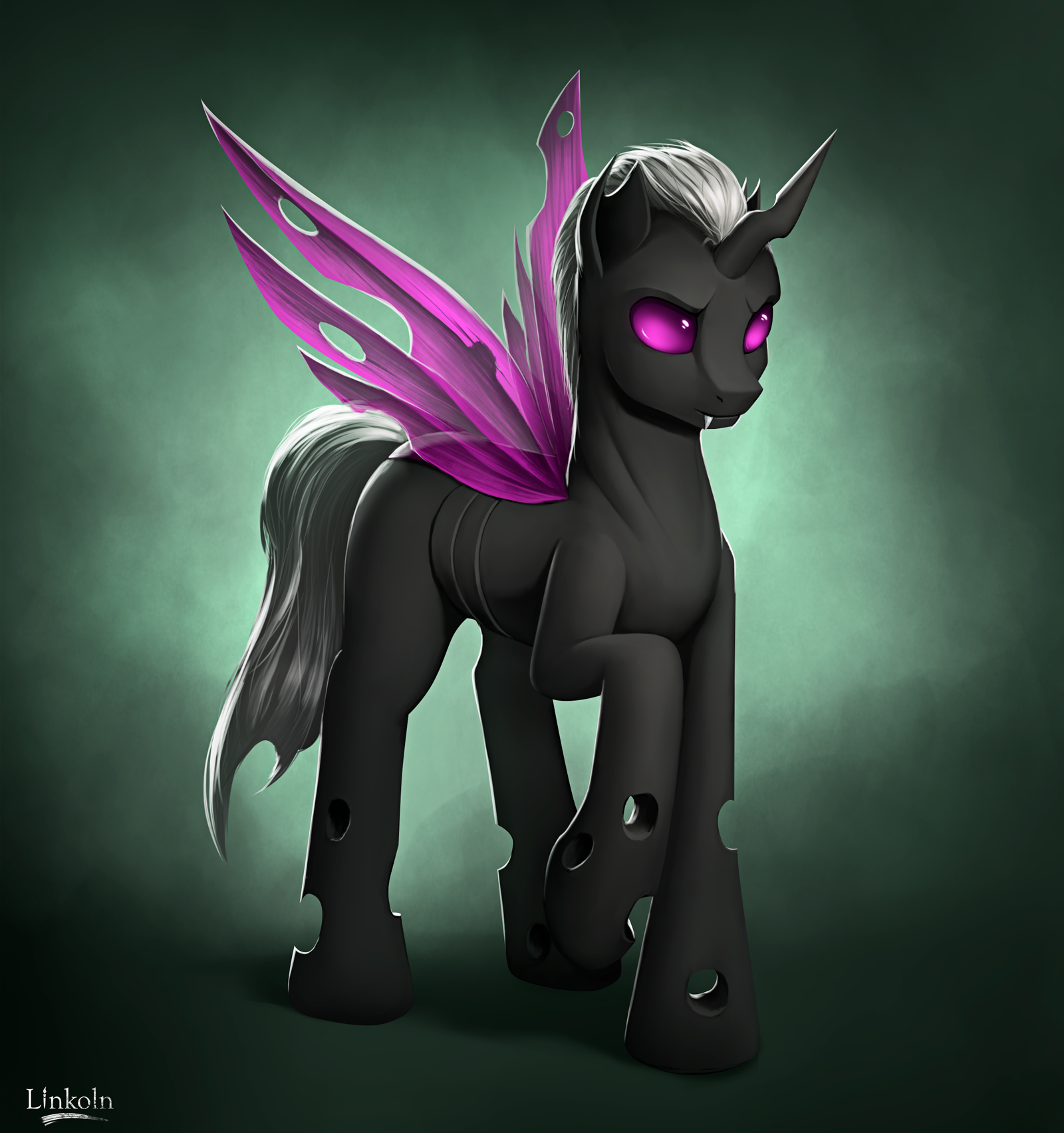e926 changeling fan_character feral gradient_background grey_hair hair hi_res hooves horn insect_wings l1nkoln male my_little_pony purple_eyes simple_background solo white_hair wings