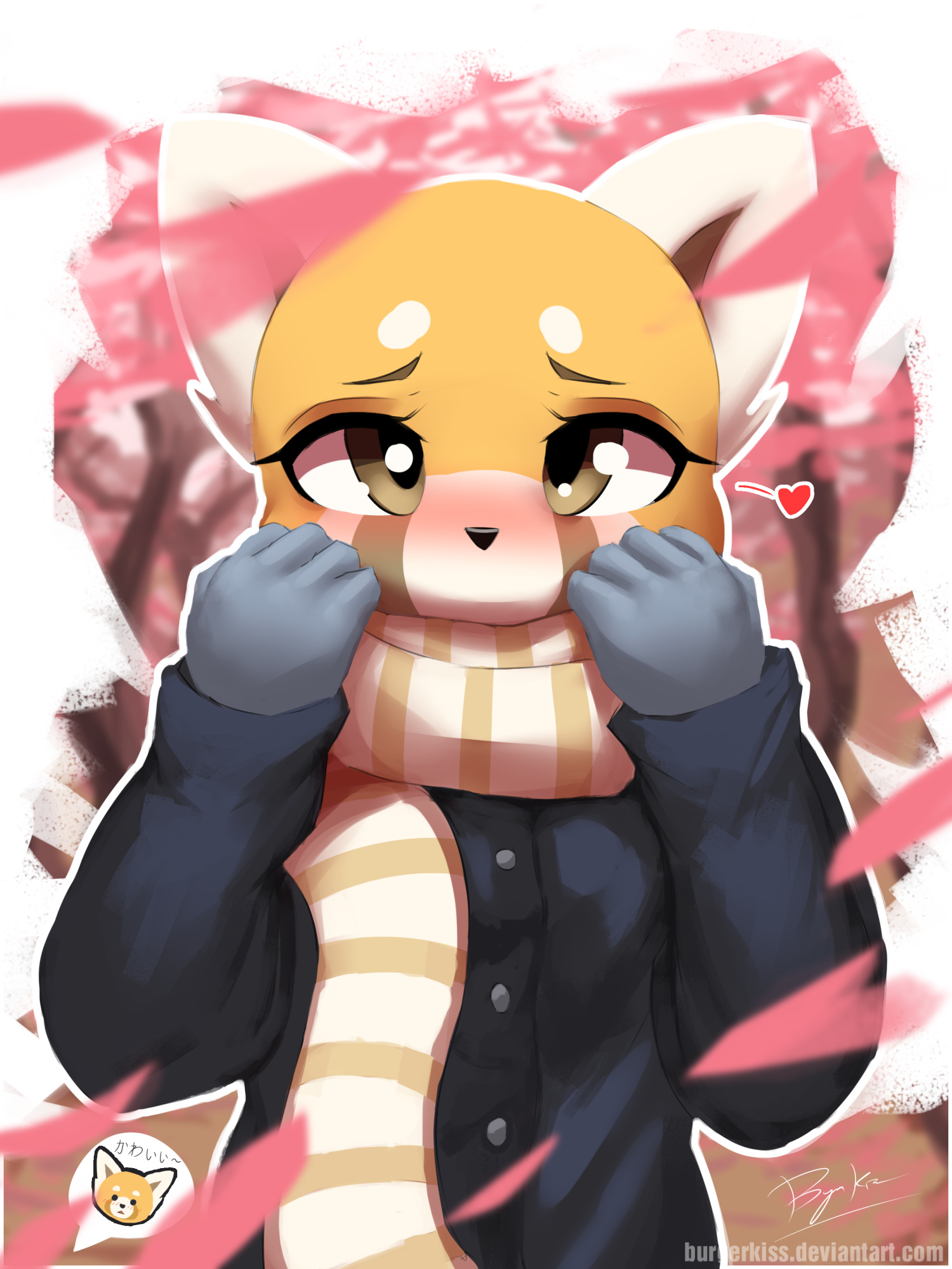 e926 2017 <3 aggressive_retsuko anthro black_nose blush burgerkiss clothed clothing female gloves hi_res looking_at_viewer mammal red_panda retsuko sanrio scarf solo