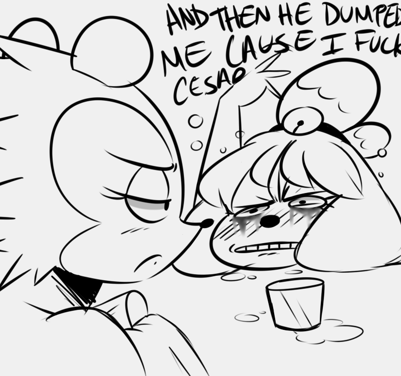 e926 animal_crossing anthro blush canine crying dialogue dog drunk duo english_text female frown hedgehog isabelle_(animal_crossing) labelle_able mammal nintendo noodle-lu running_makeup tears text video_games