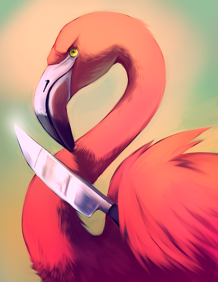 e926 ambiguous_gender avian beak bird digital_media_(artwork) falvie feathered_wings feathers feral flamingo gradient_background knife looking_at_viewer nightmare_fuel pink_feathers reflection shiny simple_background solo what wings yellow_eyes
