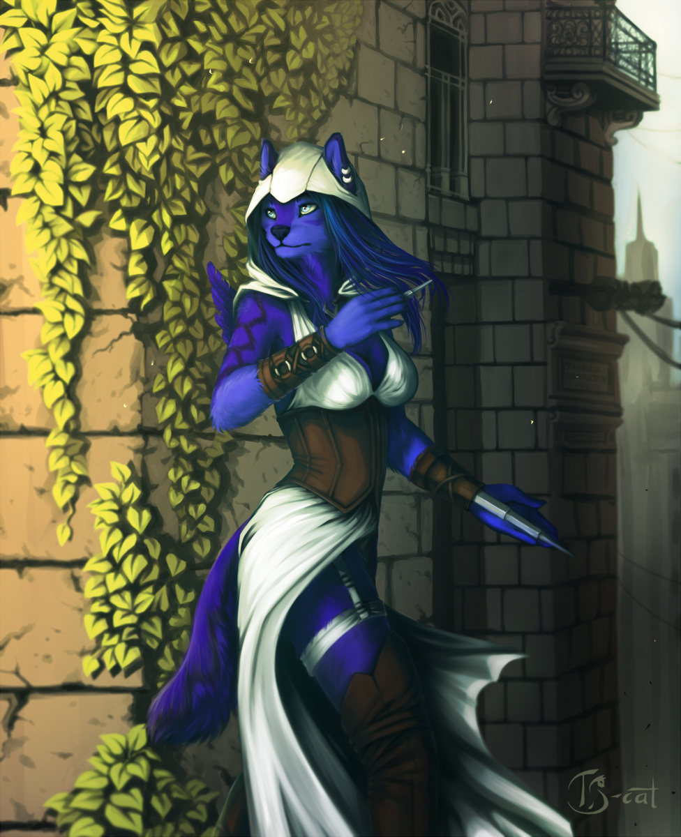 e926 5_fingers anthro black_nose blue_fur blue_hair breasts canine clothed clothing day detailed_background digital_media_(artwork) ear_piercing female fur hair mammal outside pale_eyes piercing solo ts-cat wolf
