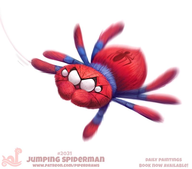 e926 ambiguous_gender arachnid arthropod blue_fur cryptid-creations feral fur humor jumping_spider marvel pun red_fur solo spider spider-man_(character) spider-man_(series) spiderweb white_eyes