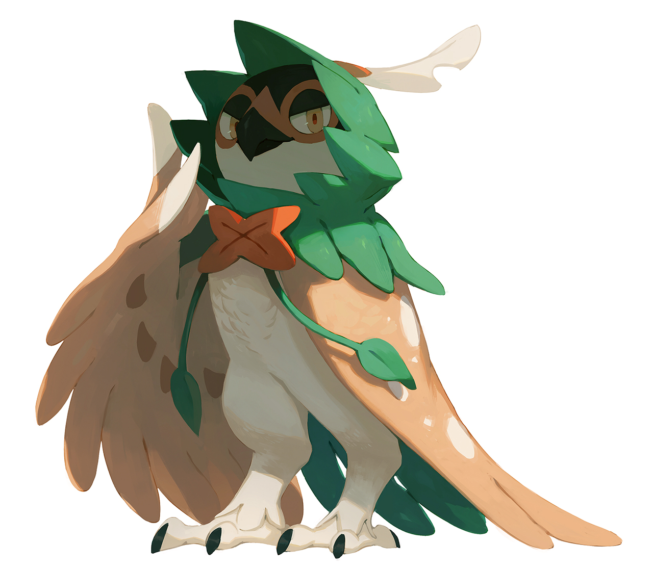 e926 2017 ambiguous_gender anthro avian beak biped black_beak bluekomadori brown_feathers decidueye digital_media_(artwork) digital_painting_(artwork) digitigrade feathered_wings feathers front_view full-length_portrait green_feathers looking_at_viewer mask_(marking) multicolored_feathers nintendo nude pokémon pokémon_(species) portrait pseudo_clothing shadow simple_background smile solo standing talons video_games white_background white_feathers white_skin winged_arms wings yellow_eyes