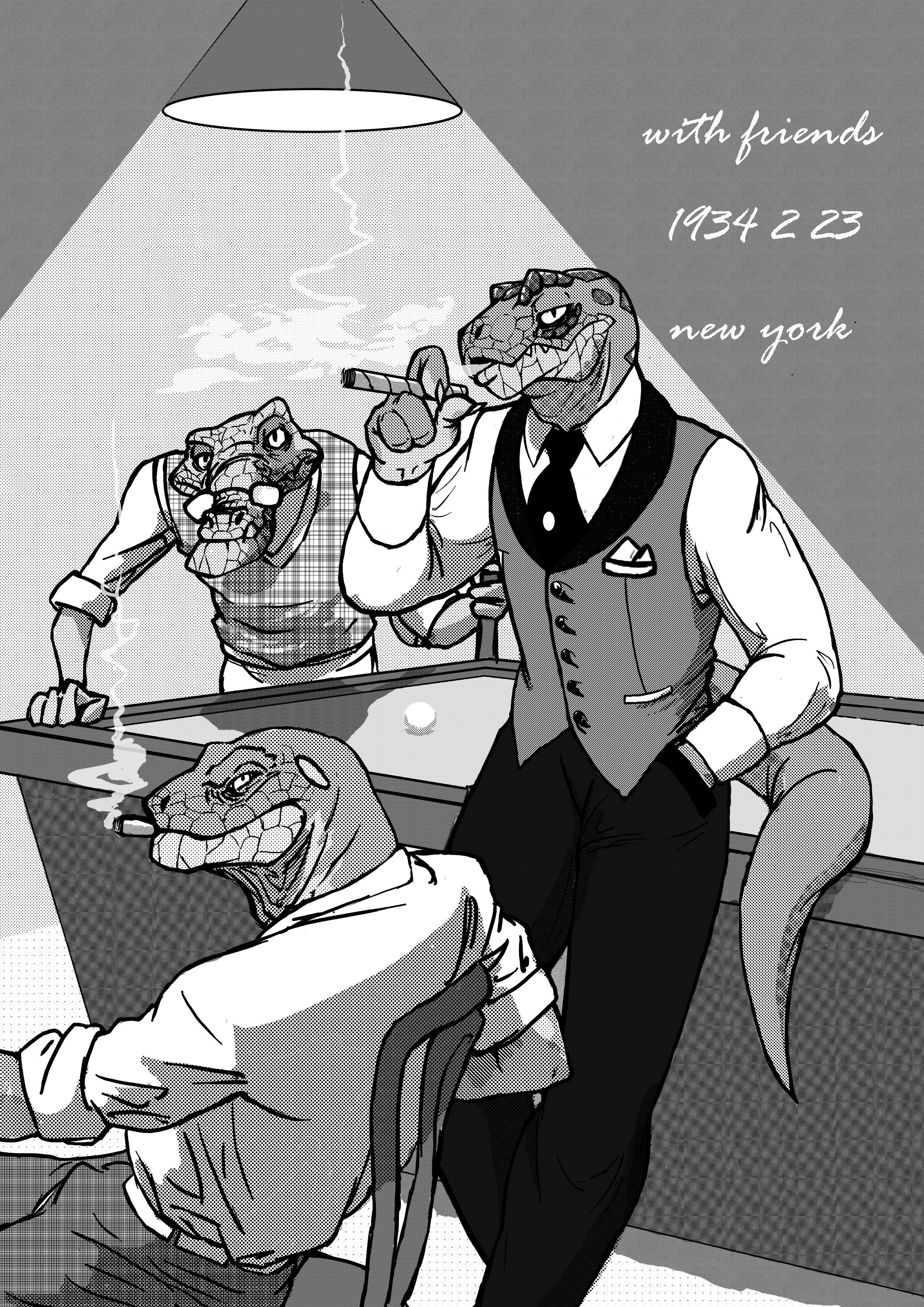 e926 absurd_res anthro billiard_ball billiards cigar classy clothed clothing crocodile crocodilian cue_ball eyewear glasses greyscale group hi_res lamp male monochrome reptile scalie schbelt smoke smoking snake stippling tone_work