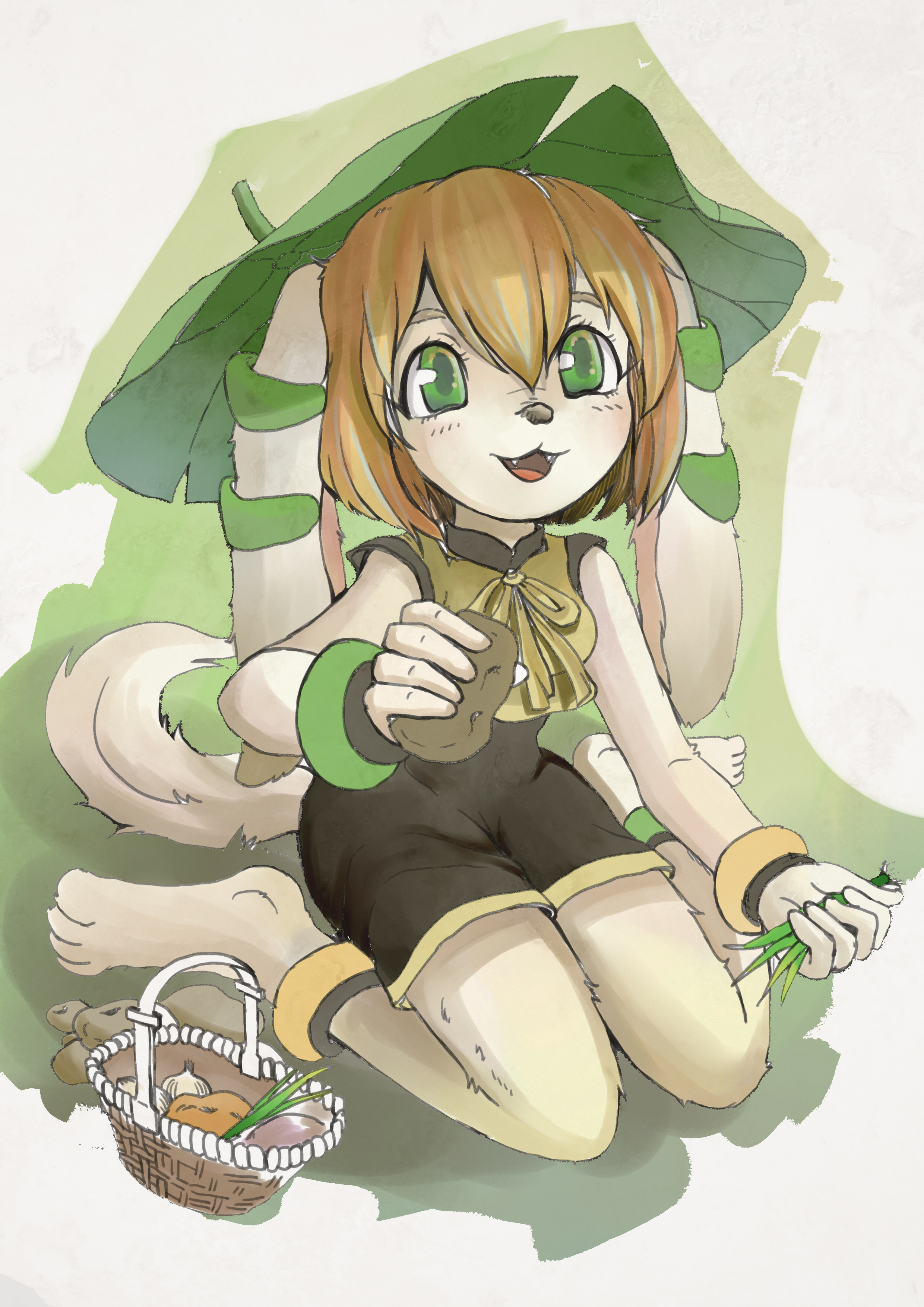 e926 anthro barefoot basket basset_hound black_nose canine clothed clothing dog female food freedom_planet freedom_planet_2 fur hair mammal milla_basset nikoyosan open_mouth orange_hair simple_background solo tan_fur video_games