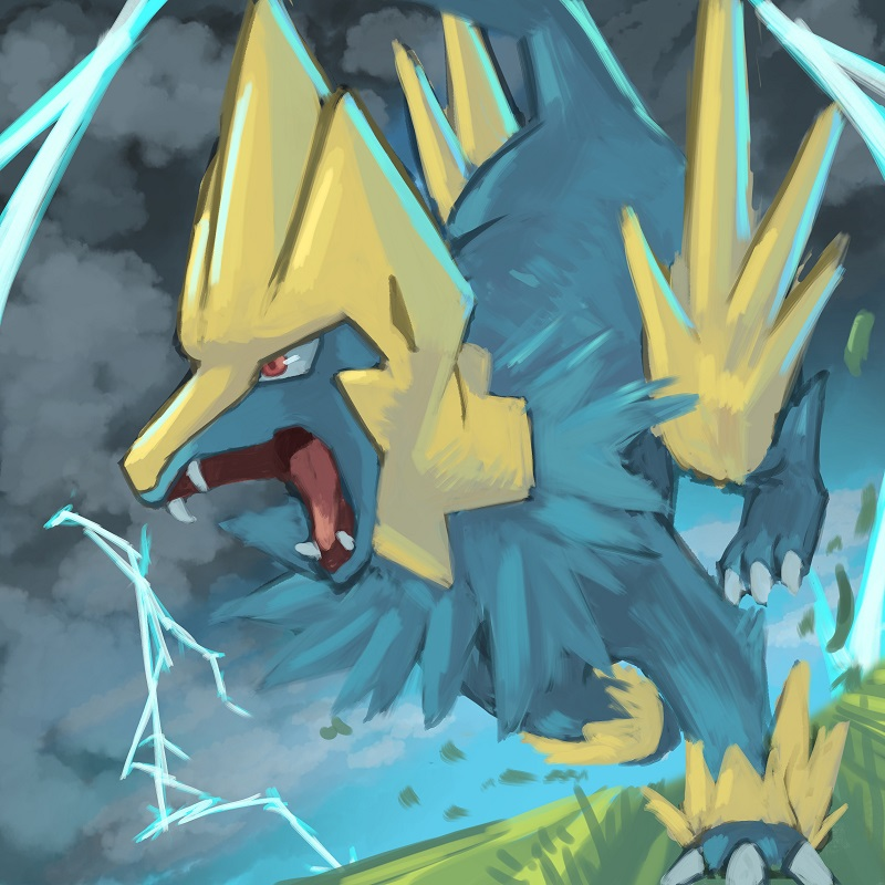 e926 ambiguous_gender blue_fur canine fur mammal manectric nintendo pokémon pokémon_(species) red_eyes tessy video_games yellow_fur