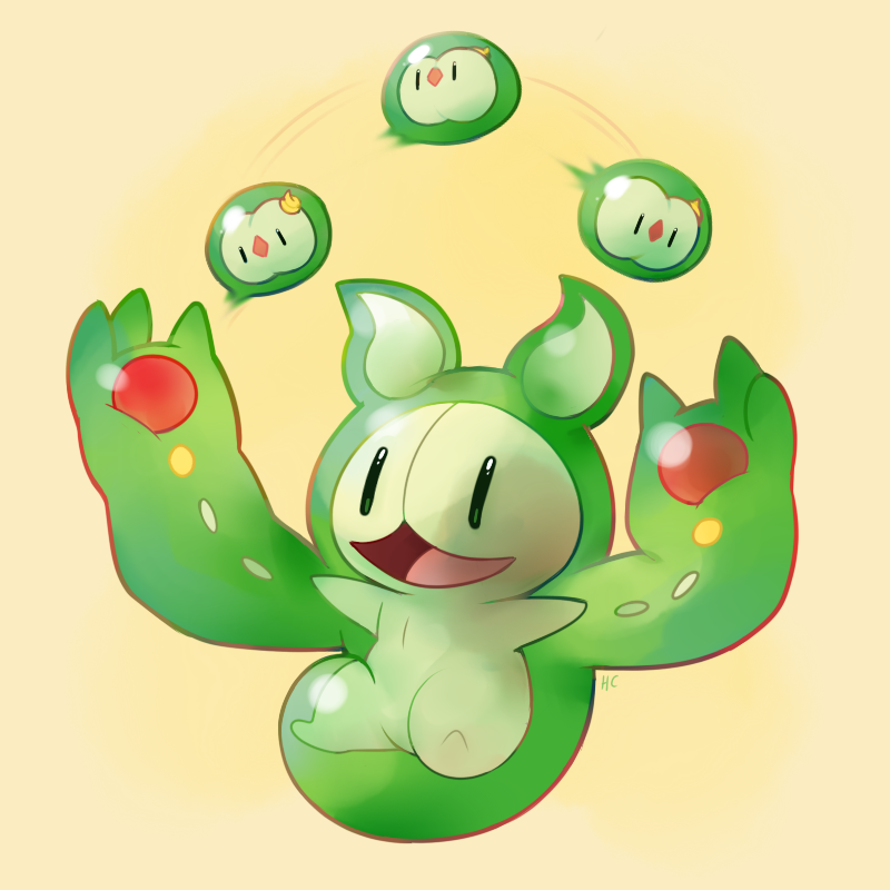 e926 2013 3_fingers :o ambiguous_gender cute green_body green_eyes group happy happycrumble juggling nintendo open_mouth open_smile pokémon pokémon_(species) reuniclus simple_background smile solosis video_games