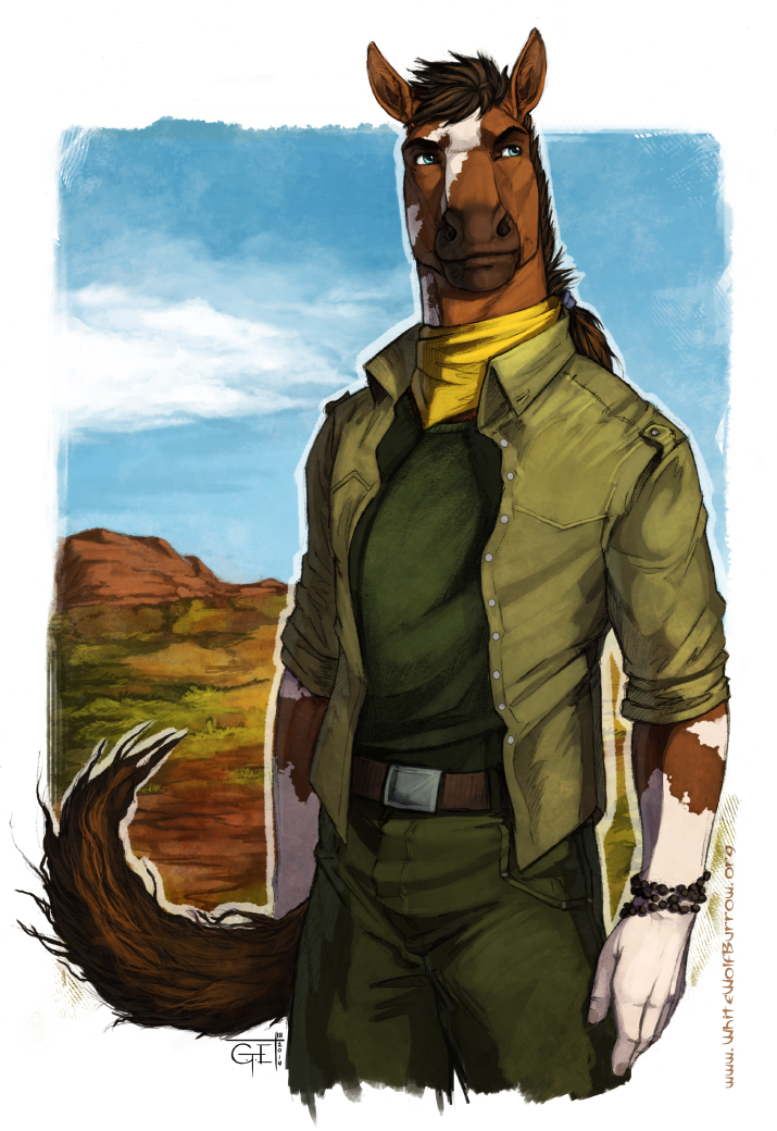 e926 anthro belt blue_eyes brown_hair c.t.elder clothed clothing day equine ethan_(sf) hair horse kerchief male mammal outside piebald semper_fidelis shirt sky solo standing