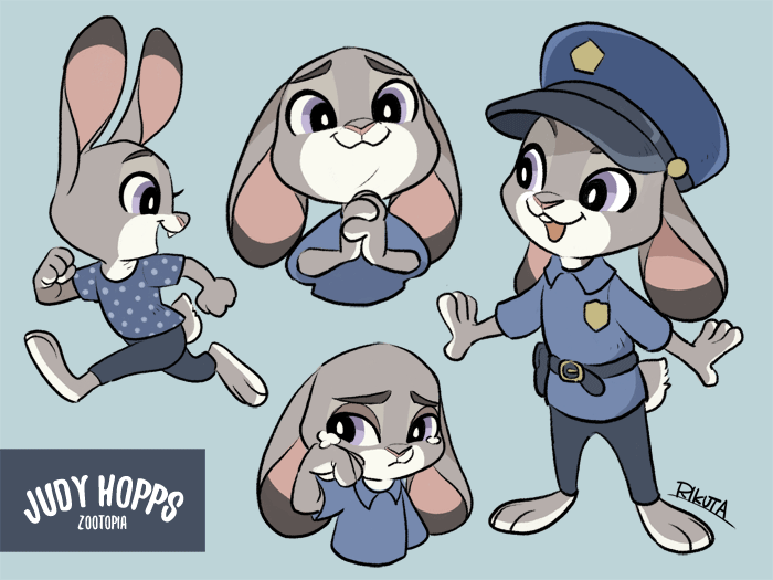 e926 4:3 anthro barefoot clothed clothing disney female fur judy_hopps lagomorph mammal open_mouth rabbit rikuta running simple_background smile zootopia