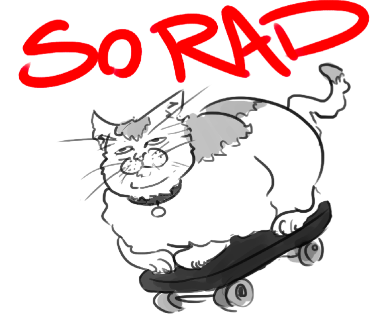e926 ambiguous_gender cat collar dipstick_tail english_text eye_roll feline feral humor lying mammal monochrome multicolored_tail on_front overweight overweight_ambiguous quadruped reaction_image simple_background skateboard skateboarding solo source_request text unknown_artist what whiskers white_background