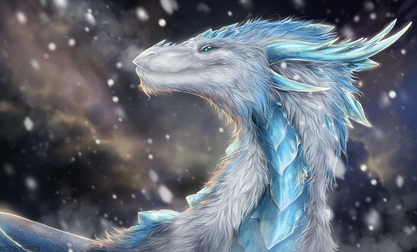 e926 blue_scales detailed_background digital_media_(artwork) dragon feral fur furred_dragon green_eyes horn isvoc scales snow solo white_fur