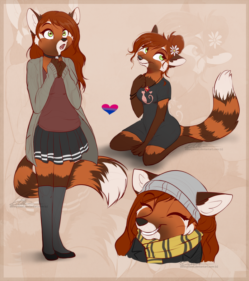 e926 2017 anthro canine clothed clothing dennyvixen eyes_closed fangs female flower flower_in_hair fox green_eyes hair hybrid long_hair mammal open_mouth plant red_hair red_panda smile solo zoom_layer