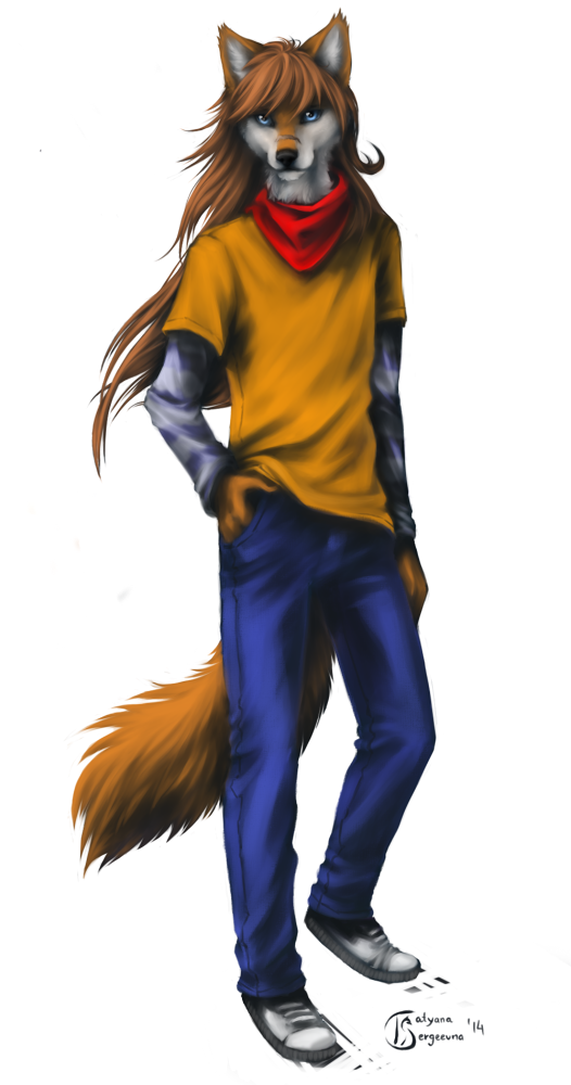 e926 2014 anthro black_nose blue_eyes brown_hair canine clothed clothing digital_media_(artwork) fox fur hair looking_at_viewer male mammal orange_fur simple_background smile solo ts-cat white_background