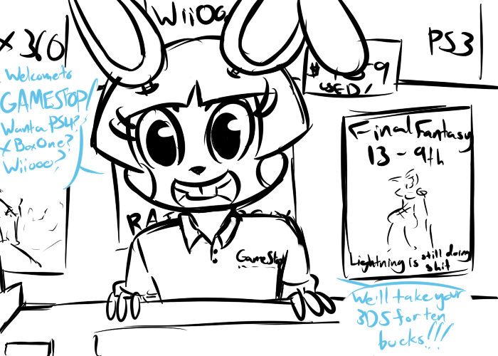 e926 2015 animatronic anthro buckteeth dialogue english_text five_nights_at_freddy's five_nights_at_freddy's_2 gamestop inkyfrog lagomorph looking_at_viewer machine male mammal open_mouth open_smile poster rabbit restricted_palette robot smile solo store talking_to_viewer teeth text toy_bonnie_(fnaf) video_games