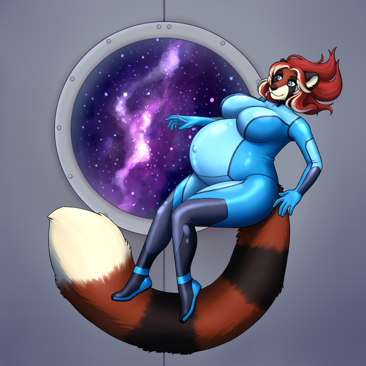e926 anthro belly big_belly big_breasts black_fur blue_eyes bodyxcount breasts catherine_(alpha-wolf) clothing female fur hair hi_res mammal metroid multicolored_fur navel nintendo outie_navel pregnant red_fur red_hair red_panda skinsuit space tight_clothing video_games white_fur zero_suit