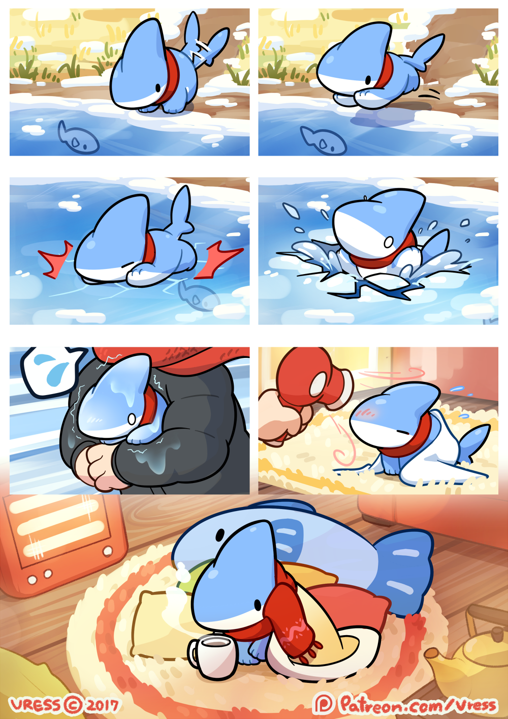 e926 2017 bedding beverage blanket chibi collar comic cute fish hairdryer hi_res human ice mammal marine outside pet pillow scarf shark shark_puppy snow tailwag tea_kettle towel vress_(artist) vress_(character) water winter