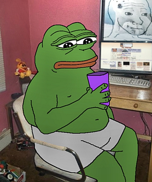 e926 4chan 8_ball amphibian anthro chair clothing cup detailed_background f._wojak frog holding_object inside keyboard meme monitor navel overweight pepe_the_frog photo_background sad sitting solo underwear