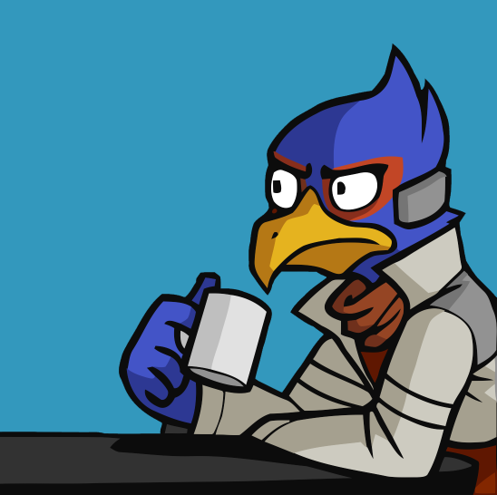 e926 2015 anthro avian awkwardzombie beak bird blue_background blue_feathers clothed clothing coffee_mug cup digital_drawing_(artwork) digital_media_(artwork) edit falco_lombardi falcon feathers frown grey_clothing grey_topwear holding_cup jacket katie_tiedrich male nintendo reaction_image red_clothing red_scarf red_topwear scarf side_view simple_background sitting solo star_fox stare table too_early_for_this video_games