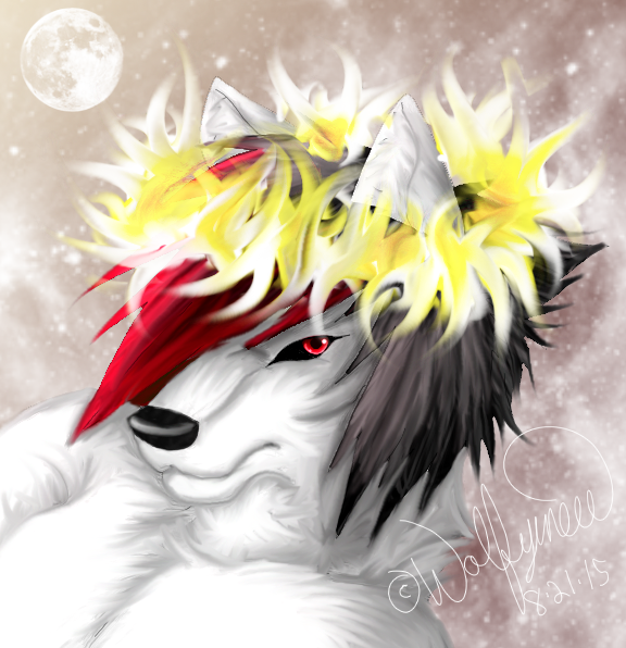 e926 black_hair black_sclera canine fire fur gold_fire hair halo headshot inner_ear_fluff male mammal moon multicolored_hair neck_tuft razr_abyss red_eyes red_hair snow solo tuft white_fire white_fur wolf wolfymewmew