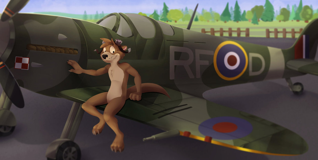 e926 aircraft airplane anthro brown_fur claws digital_media_(artwork) fur greennightinggale hair male mammal mustelid nude otter patch_the_otter smile solo spitfire toes