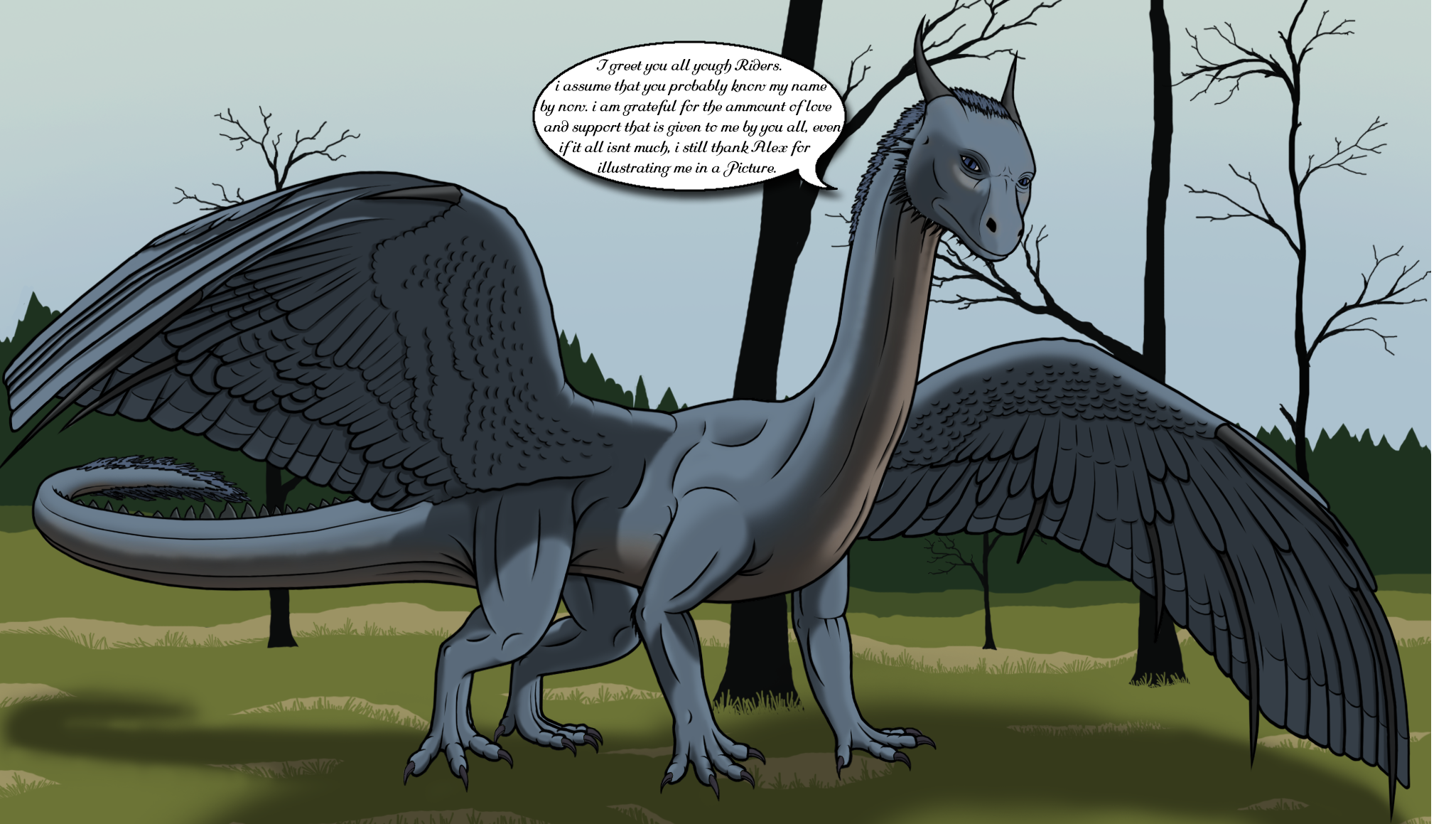 e926 blue_eyes blue_skin claws day dragon eragon feathers feral forearms forest fur green_background hair hi_res hindlegs horn love mane muscular outside passion pose saphira saphirafunker scalie simple_background smooth_skin snout solo spikes standing thorns tree whole_body wings