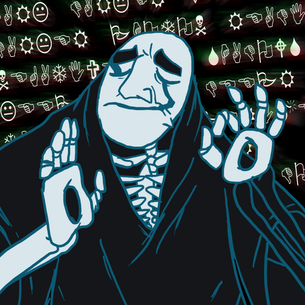 e926 5_fingers bone crossover eyebrows eyes_closed gaster just_right meme not_furry ok_sign pacha_(the_emperor's_new_groove) reaction_image skeleton solo spirit undead undertale unknown_artist video_games wingdings