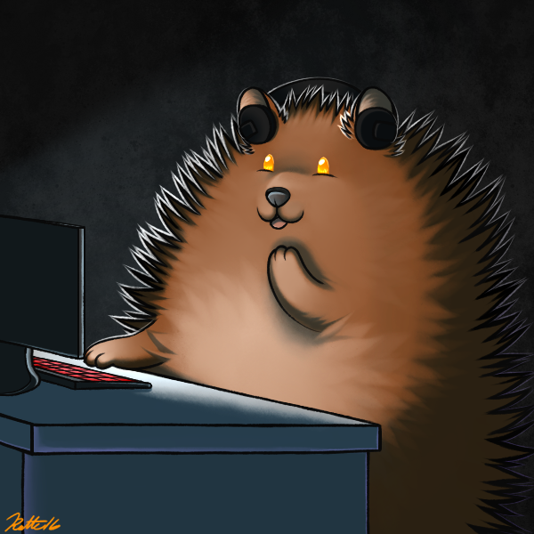 e926 2016 3_fingers bear bearphones brown_fur computer conditional_dnp desk fur grey_background grizzly_bear headphones inside keyboard laugh male mammal monitor open_mouth orange_eyes poof ratte semi-anthro signature simple_background solo textured_background