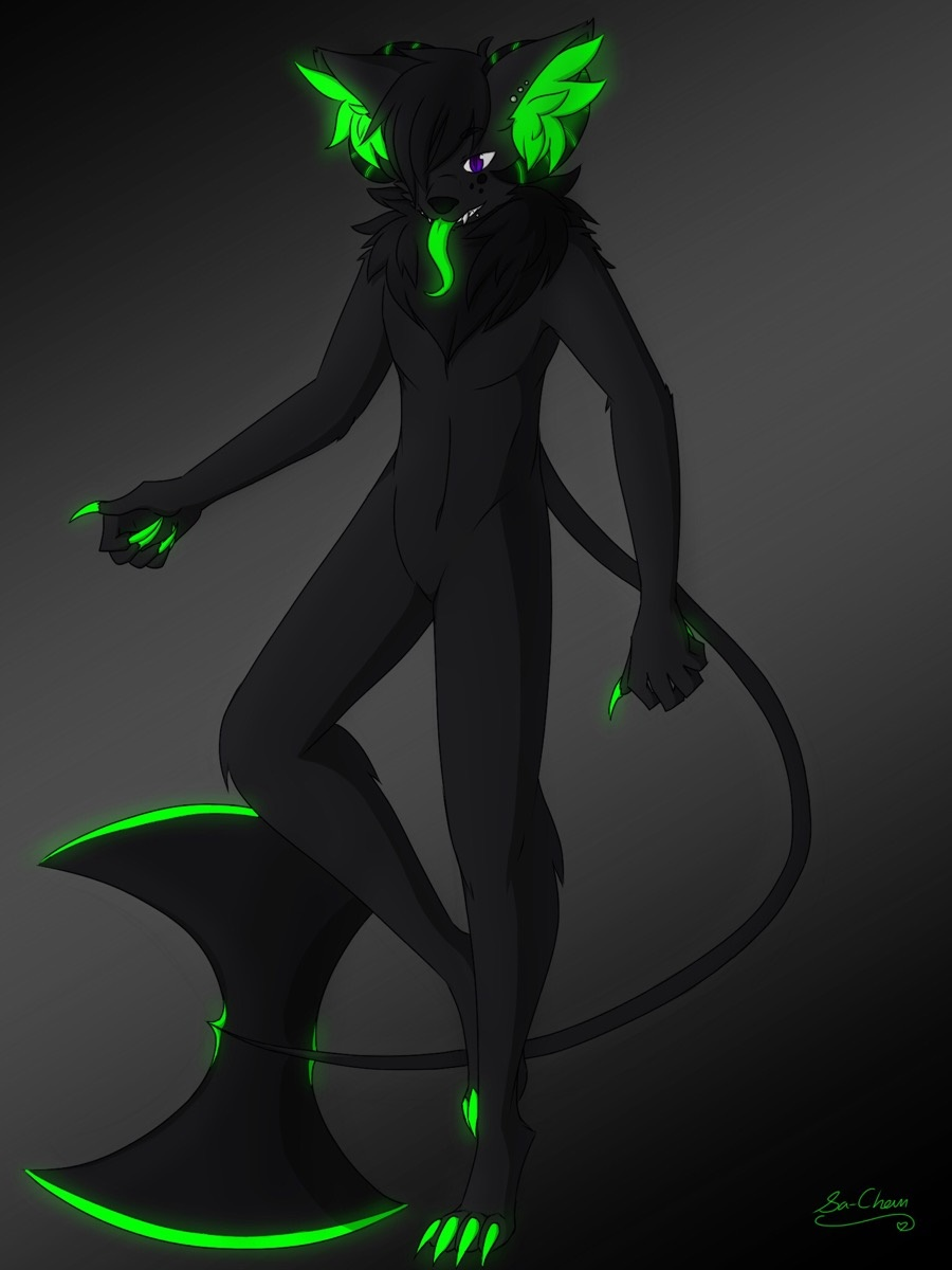 e926 anthro bioluminescence black_fur black_hair canine fur glowing hair hellhound hi_res horn inner_ear_fluff male mammal midnight_frostklaw nude piercing radioactive simple_background solo stout_muzzle tongue weapon