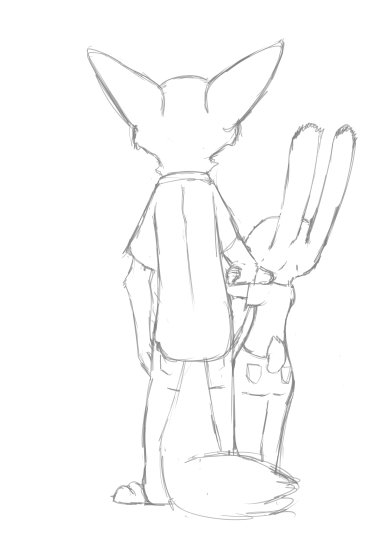 e926 2017 akiric anthro arm_hug barefoot black_and_white canine clothed clothing disney duo female fox furgonomics judy_hopps lagomorph male mammal monochrome nick_wilde rabbit rear_view simple_background tail_clothing white_background zootopia